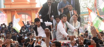 Lucknow: Congress leaders Rahul Gandhi, Priyanka Gandhi Vadra and Jyotiraditya Scindia during a road show in Lucknow on Feb 11, 2019. (Photo: IANS)