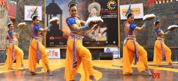 Faridabad: Artistes perform during the ongoing 33rd Surajkund International Craft Mela-2019 in Faridabad on Feb 11, 2019. (Photo: IANS)