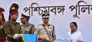 Kolkata: West Bengal Chief Minister Mamata Banerjee and Kolkata Police Commissioner Rajeev Kumar during the Joint Investiture ceremony of West Bengal Police and Kolkata Police, on Feb 4, 2019. (Photo: IANS)