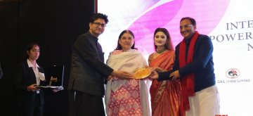 New Delhi: (L to R) Lyricist and Censor Board chief Prasoon Joshi, Union Minister for Women and Child Development Maneka Gandhi, IWES Chairperson and Kathak danseuse Arushi Nishank and BJP leader Ramesh Pokhriyal at the International Women Empowerment Summit and Awards hosted India Chapter of IWES - 2019 in New Delhi on Feb 12, 2019. (Photo: IANS)
