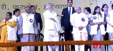 Kurukshetra: Prime Minister Narendra Modi lays foundation stone of National Institute of Ayurveda, Panchkula, Pandit Deen Dayal Upadhyaya University of Health Sciences, Karnal, Shri Krishna Ayush University, Kurukshetra, and 'Battles of Panipat' Museum, Panipat,  National Cancer Institute in Jhajjar district and the ESIC Medical College and Hospital, Faridabad, in Kurukshetra on Feb 12, 2019. (Photo: IANS/BJP)