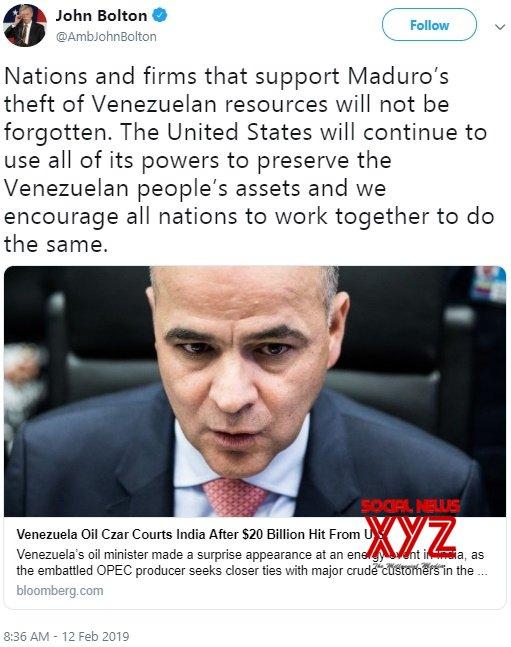 US NSA tweets warning to India against buying Venezuelan oil