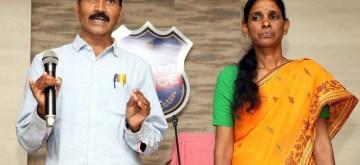 Hyderabad: Top Maoist leader Buriyar Sathwaji and his wife Vydugula Aruna, also a Maoist, surrender before Telangana Police in Hyderabad on Feb 13, 2019. (Photo: IANS)