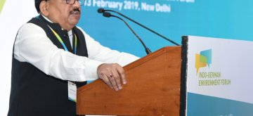 New Delhi: Union Environment Minister Harsh Vardhan addresses at the 3rd Indo-German Environment Forum, in New Delhi, on Feb 13, 2019. (Photo: IANS/PIB)