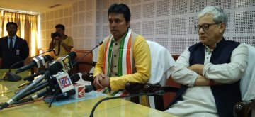 Agartala: Tripura Chief Minister Biplab Kumar Deb addresses a press conference in Agartala on Feb 13, 2019. Also seen Deputy Chief Minister Jishnu Debbarma. (Photo: IANS)