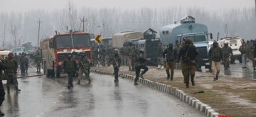 Pulwama: The site on on the Srinagar-Jammu highway where 20 Central Reserve Police Force (CRPF) troopers were killed and 15 others injured in an audacious suicide attack by militants in Jammu and Kashmir's Pulwama district on Feb 14, 2019. All the injured have been shifted to the Army's Base Hospital in Srinagar. (Photo: IANS)