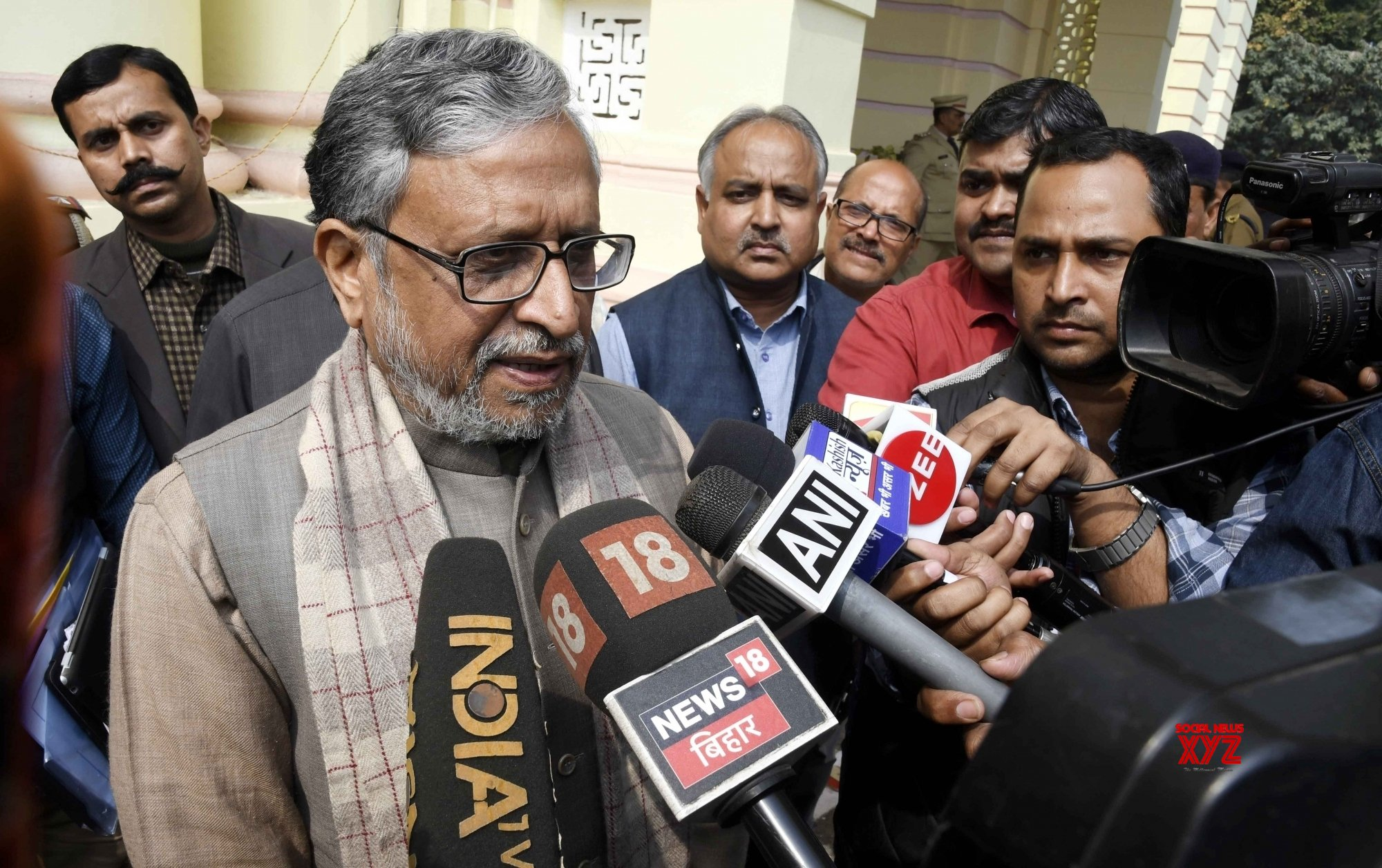 Patna: Sushil Kumar Modi talks to media #Gallery