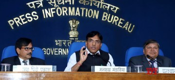 """New Delhi: Union MoS Road Transport and Highways, Shipping and Chemicals and Fertilizers Mansukh L. Mandaviya addresses a press conference on the eve of """"Jan Aushadhi Diwas,"""" in New Delhi, on March 6, 2019. (Photo: IANS/PIB)"""