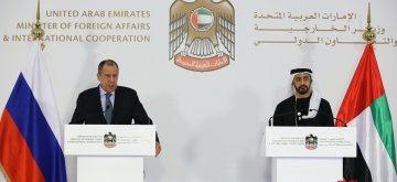 ABU DHABI, March 7, 2019 (Xinhua) -- Russian Foreign Minister Sergei Lavrov (L) and United Arab Emirates Minister of Foreign Affairs and International Cooperation Sheikh Abdullah bin Zayed bin Sultan Al Nahyan attend a press conference in Abu Dhabi, the United Arab Emirates, March 6, 2019. (Xinhua/Mohamad Badreddine/IANS)