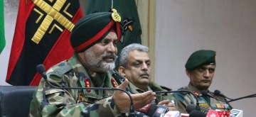 Srinagar: Chinar Corps commander Lt Gen K.J.S. Dhillon addresses a press conference in Srinagar, on March 11, 2019. The main conspirator of the audacious February 14 Pulwama attack that left 40 CRPF troopers dead has been eliminated, Dhillon announced at the joint press conference with the police. (Photo: IANS)