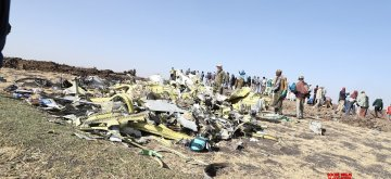 ADDIS ABABA, March 11, 2019 (Xinhua) -- Photo taken on March 11, 2019 shows the crash site of an Ethiopian Airlines plane near Bishoftu town, about 45 km from the capital Addis Ababa, Ethiopia. The Nairobi-bound Boeing 737-8 MAX crashed on Sunday, just minutes from takeoff from Addis Ababa Bole International Airport, killing all 157 people aboard. Earlier on Monday, Ethiopian Airlines announced its decision to suspend commercial operations of all Boeing 737-Max 8 aircraft. (Xinhua/Michael Tewelde/IANS)