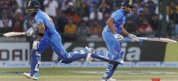 New Delhi: India's Virat Kolhi and Rohit Sharma in action during the fifth ODI match between India and Australia at Feroz Shah Kotla Stadium, in New Delhi, on March 13, 2019. (Photo: Surjeet Yadav/IANS)