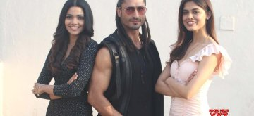 "Mumbai: Actors Pooja Sawant, Vidyut Jamwal and debutant Asha Bhat during the promotion of their upcoming film ""Junglee"" at a studio, in Mumbai, on March 13, 2019. (Photo: IANS)"