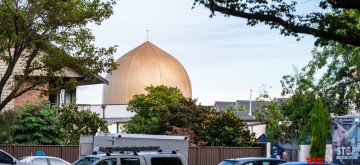 CHRISTCHURCH, March 16, 2019 (Xinhua) -- Police vehicles are seen outside a mosque in Christchurch, New Zealand, on March 16, 2019. The death toll from attacks on two mosques in New Zealand's Christchurch Friday rose to 49 and 48 others were wounded. (Xinhua/Zhu Qiping/IANS)