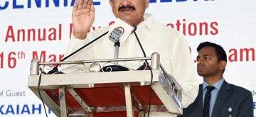 Hyderabad: Vice President M. Venkaiah Naidu addresses at the 2nd decennial celebrations of Sarojini Naidu Vanita Pharmacy Maha Vidyalaya in Hyderabad, on March 16, 2019. (Photo: IANS/PIB)