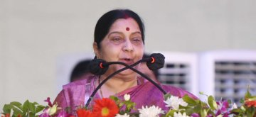 New Delhi: Union Minister for External Affairs Sushma Swaraj addresses at the foundation stone laying of Dwarka Expressway and Delhi-Mumbai Expressway; and inauguration of Jaipur ring road, at Dwarka, in New Delhi on March 8, 2019. (Photo: IANS/PIB)