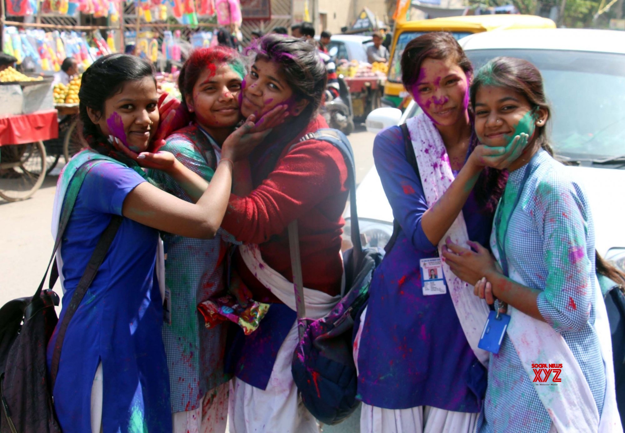 Gurugram: Students celebrate Holi #Gallery