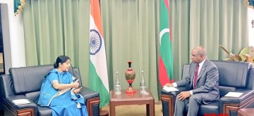 Maldives: Maldives: External Affairs Minister Sushma Swaraj being received by Maldives Foreign Minister Abdulla Shahid ahead of the bilateral talks and Joint Ministerial meeting in Maldives on March 17, 2019. (Photo: IANS/MEA)