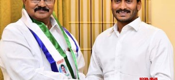 Hyderabad: Adala Prabhakar joins YSR Congress Party (YSRCP) in the presence of party chief Y.S. Jaganmohan Reddy at the party's headquarter in Hyderabad. (Photo: Twitter/@YSRCPDMO)