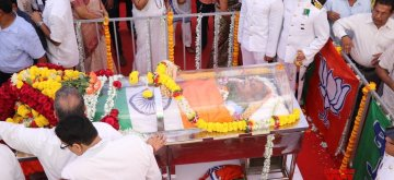 Panaji: The mortal remains of late Goa Chief Minister Manohar Parrikar at the state's BJP headquarters in Panaji, on March 18, 2019. (Photo: IANS)