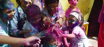 Mumbai: Differently abled children celebrate holi during a programme in Mumbai on March 19, 2019. (Photo: IANS)