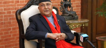 (190204) -- KATHMANDU, Feb. 4, 2019 (Xinhua) -- Nepal's Prime Minister KP Sharma Oli extends greetings on occasion of Chinese Lunar New Year during an exclusive interview at Prime Minister's residence in Kathmandu, Nepal, Feb. 4, 2019. In his message, the prime minister expressed warm wishes to all the people of China for good health,progress, success and happiness. (Xinhua/Sunil Sharma)
