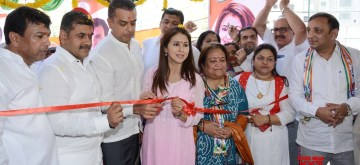 Mumbai: Congress's Lok Sabha candidate from Mumbai North constituency, Urmila Matondkar and party leader Milind Deora with NCP leader Sachin Ahir during inauguration of a party office in Mumbai on April 10, 2019. (Photo: IANS)