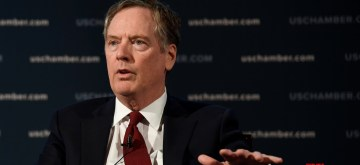WASHINGTON D.C., May 3, 2018 (Xinhua) -- U.S. Trade Representative (USTR) Robert Lighthizer speaks at an event hosted by the U.S. Chamber of Commerce in Washington D.C., the United States, on May 1, 2018. Lighthizer said on Tuesday that he hoped to reach a deal to overhaul the North American Free Trade Agreement (NAFTA) in mid-May, which could buy more time for the current Congress to approve the deal. (Xinhua/Yang Chenglin/IANS)