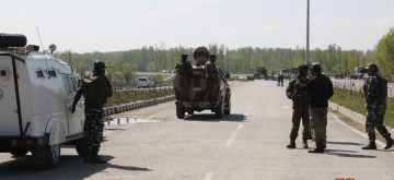 Srinagar: Security beefed up at Jammu and Kashmir National Highway (NH 44) after Jammu and Kashmir government had announced that no civilian traffic will be allowed on the Jammu-Srinagar highway on Sundays and Wednesdays from 4 a.m. to 5 p.m. to ensure the safety of the security convoys, in Srinagar, on April 10, 2019. (Photo: IANS)