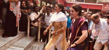 Udarbond: Congress General Secretary (Uttar Pradesh East) Priyanka Gandhi Vadra accompanied by party's Lok Sabha candidate from Silchar, Sushmita Dev, visits Kachakanti Temple in Assam's Udarbond, on April 14, 2019. (Photo: IANS)