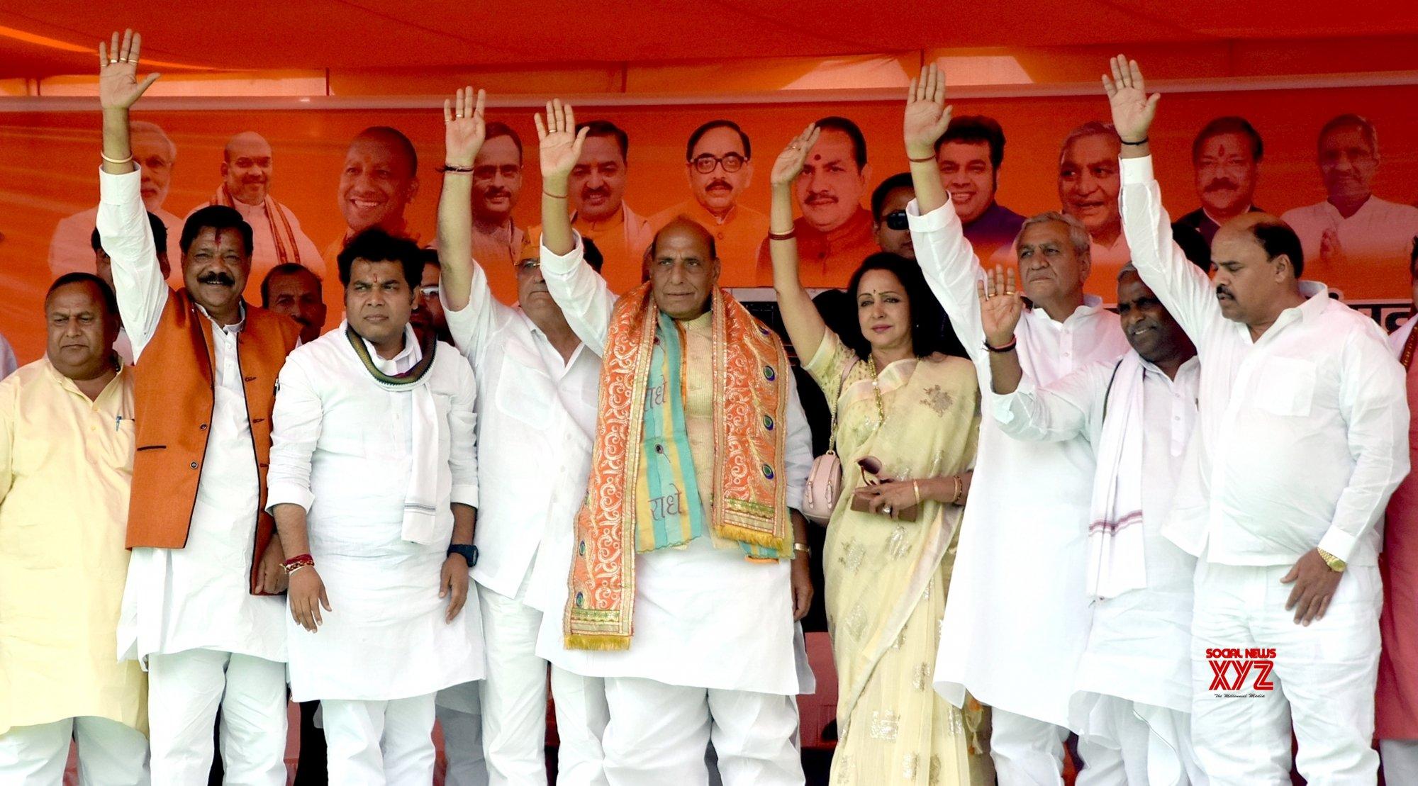 Mathura: 2019 Lok Sabha polls - Rajnath Singh, Hema Malini at an election rally #Gallery