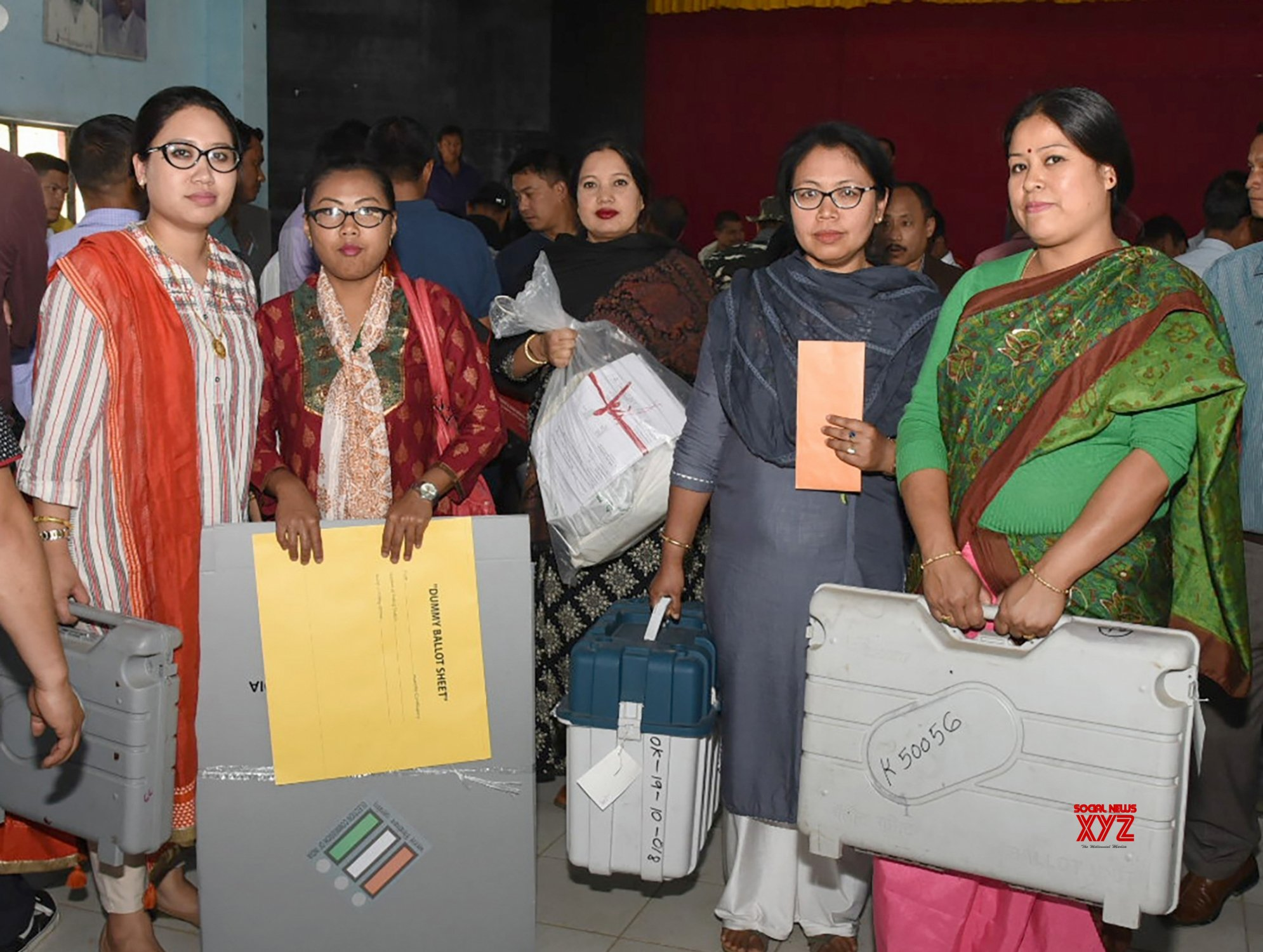 Imphal: 2019 Lok Sabha elections - Polling officials collect EVMs and other necessary inputs #Gallery