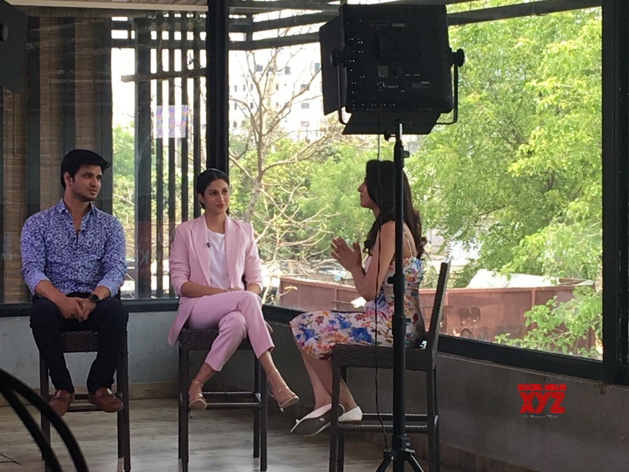 Arjun Suravaram Pair Nikhil Siddhartha And Lavanya Stills From Star Maa Special Cricket Interview