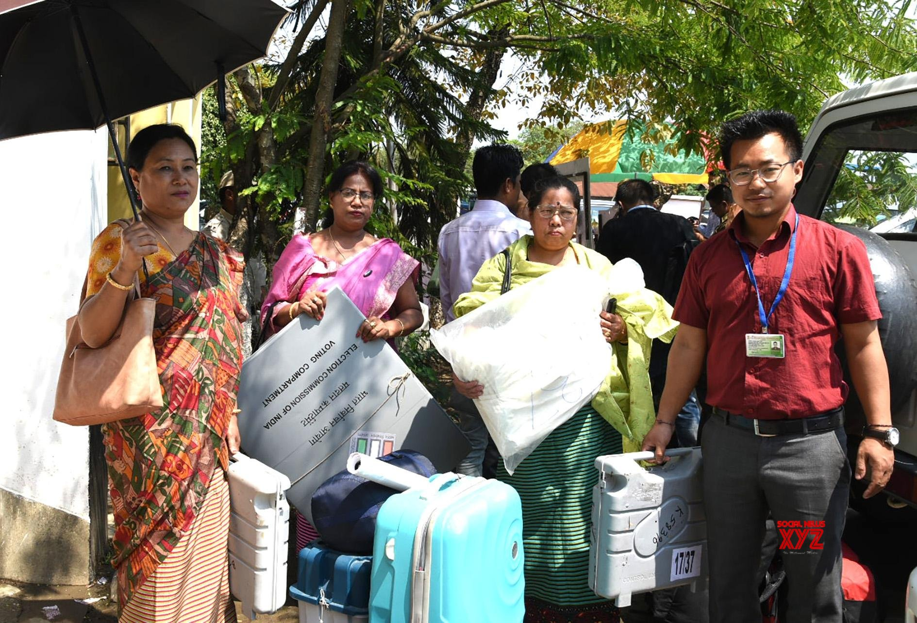 Imphal West: 2019 Lok Sabha elections - Polling officials collect EVMs and other necessary inputs #Gallery