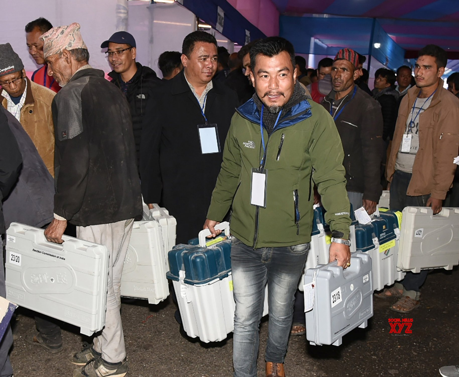 Darjeeling (West Bengal): 2019 Lok Sabha elections - Polling officials collect EVMs and other necessary inputs #Gallery