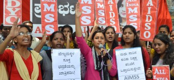 Bengaluru: AIMSS, AIDSO and AIDYO members stage a demonstration to condemn the death of college student Madhu who was allegedly found raped and murdered at Raichur; in Bengaluru on April 20, 2019. (Photo: IANS)