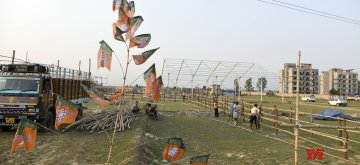 Bolpur: Preparations underway ahead of Prime Minister Narendra Modi's public rally in West Bengal's Bolpur, on April 23, 2019. (Photo: Indrajit Roy/IANS)