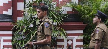 COLOMBO, April 26, 2019 (Xinhua) -- Policemen guard in Colombo, Sri Lanka, April 26, 2019. Sri Lanka on Thursday revised the death toll from multiple terror attacks on Sunday to around 253 from 359, Sri Lanka's Health Ministry said on Thursday. (Xinhua/Wang Shen/IANS)