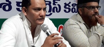 Hyderabad: Former cricketer and Congress leader Mohammad Azharuddin addresses a press conference in Hyderabad, on May 13, 2019. (Photo: IANS)
