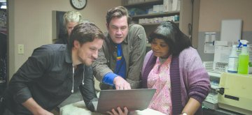 "(from center) Director Tate Taylor and Octavia Spencer on the set of ""Ma."""