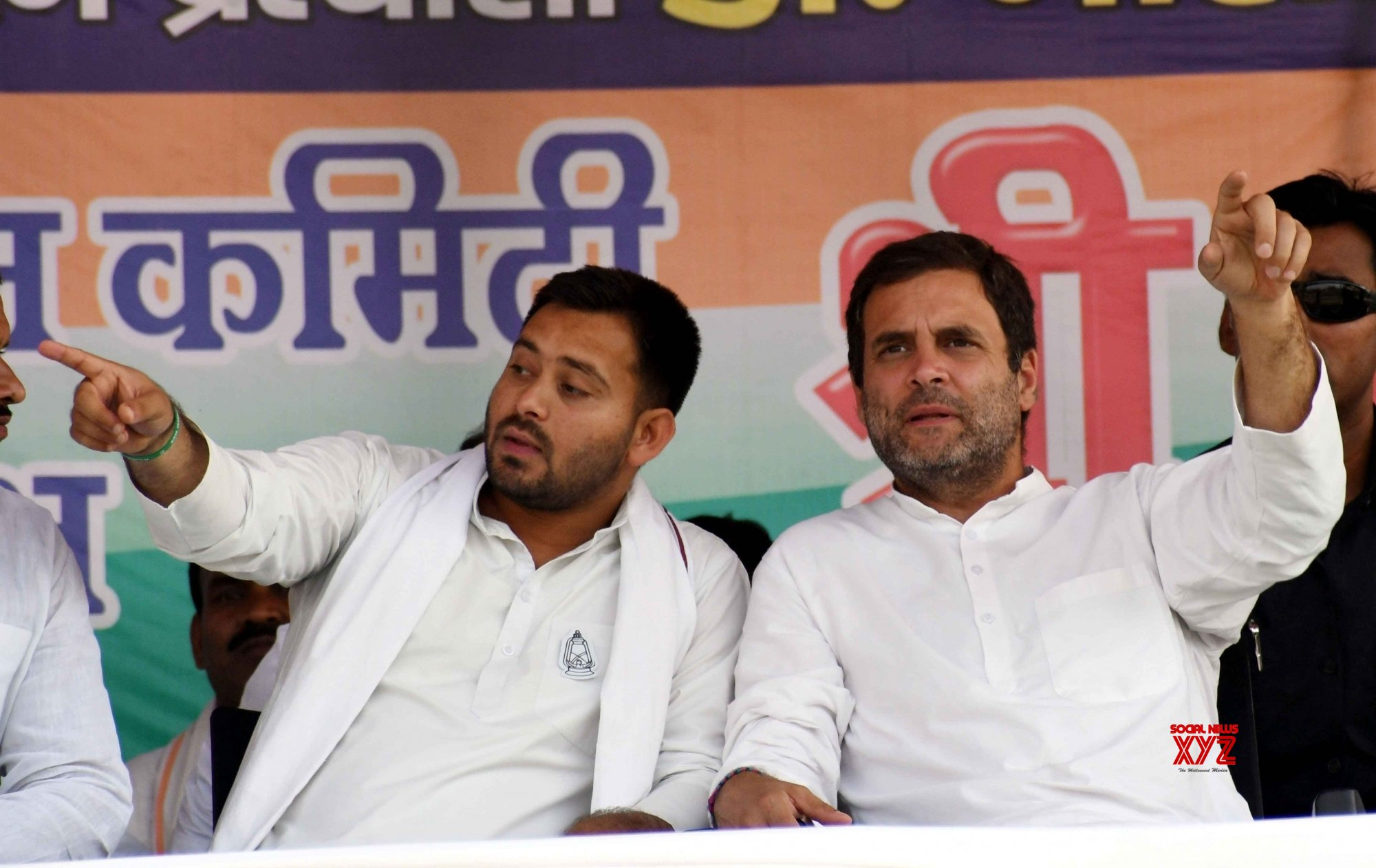 Patna: Rahul Gandhi, Tejashwi Yadav during a rally #Gallery