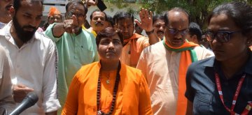 Bhopal: BJP's Lok Sabha candidate from Bhopal, Pragya Singh Thakur during an election campaign for the forthcoming Lok Sabha elections, in Bhopal on May 1, 2019. (Photo: IANS)