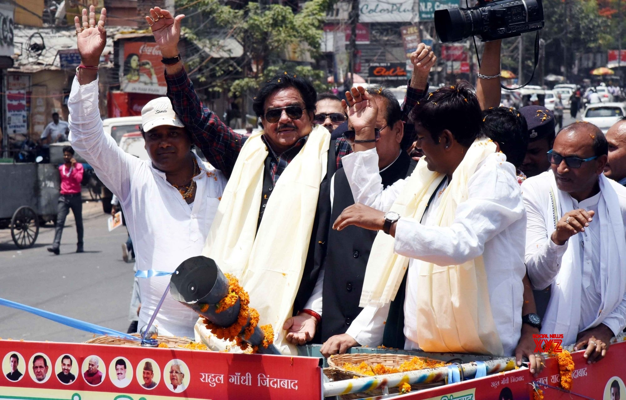 Patna: 2019 Lok Sabha elections - Shatrughan Sinha, Mukesh Sahni during a roadshow #Gallery
