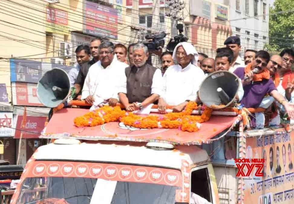 Patna: Ravi Shankar Prasad, Sushil Kumar Modi during a BJP rally #Gallery