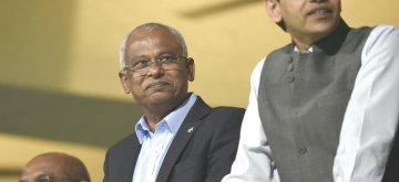 Bengaluru: Maldives President Ibrahim Mohamed Solih during the 39th match of IPL 2019 between Royal Challengers Bangalore and Chennai Super Kings at M.Chinnaswamy Stadium in Bengaluru, on April 21, 2019. (Photo: IANS)