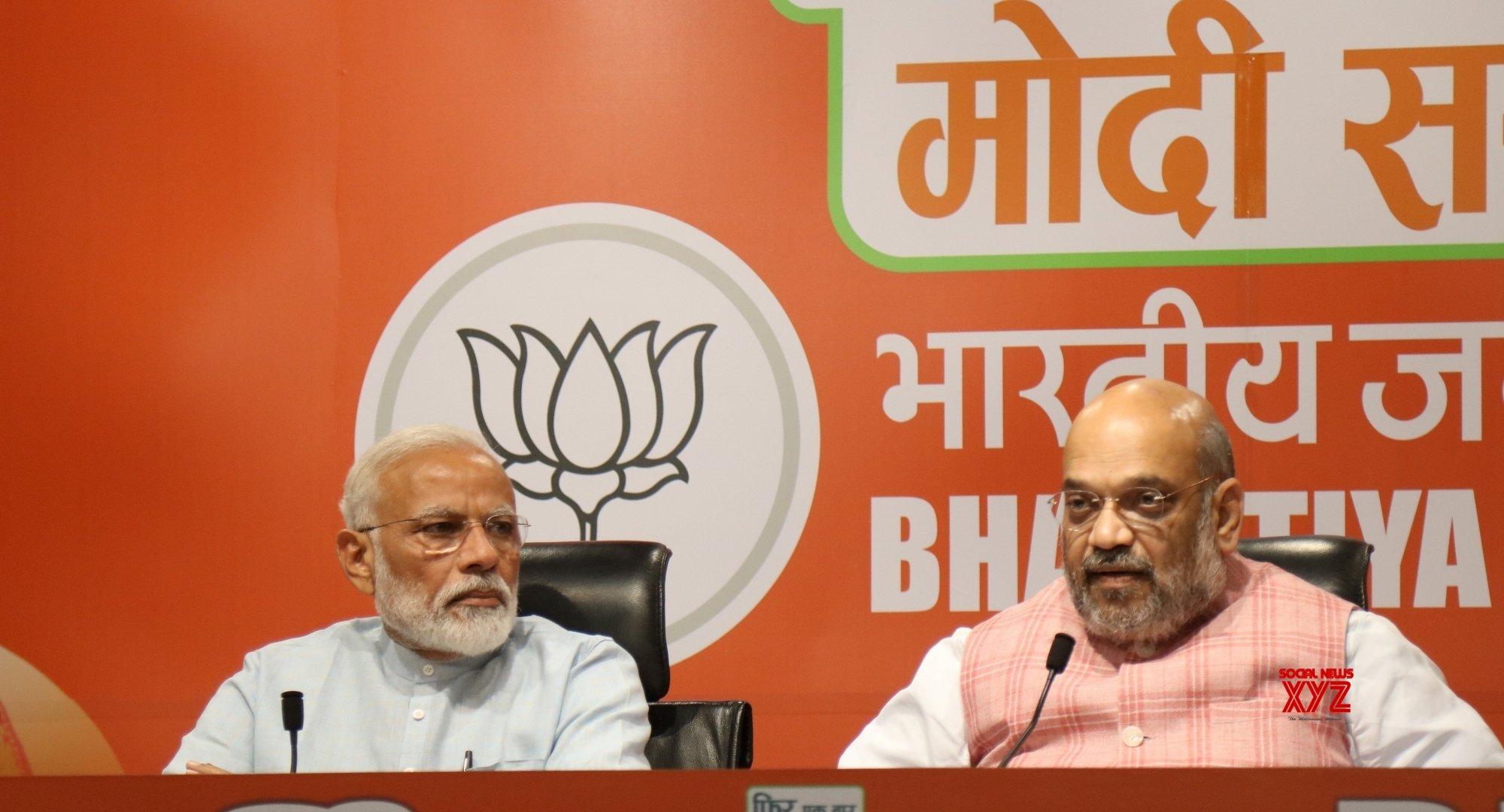 New Delhi: PM Modi, Amit Shah at a press conferenc #Gallery
