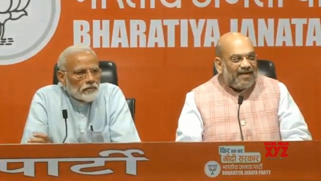 New Delhi: PM Modi, Amit Shah at a press conference #Gallery
