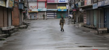 Srinagar: Security beefed up after authorities imposed restrictions in parts of the Kashmir valley following the killing of Kashmir's most wanted militant commander Zakir Musa, who headed the Al Qaeda affiliate Ansar Gazwatul Hind; in Srinagar on May 24, 2019. Hours after the militant was killed, nocturnal protests broke out in parts of Srinagar, Pulwama and Shopian forcing authorities to impose restrictions. (Photo: IANS)