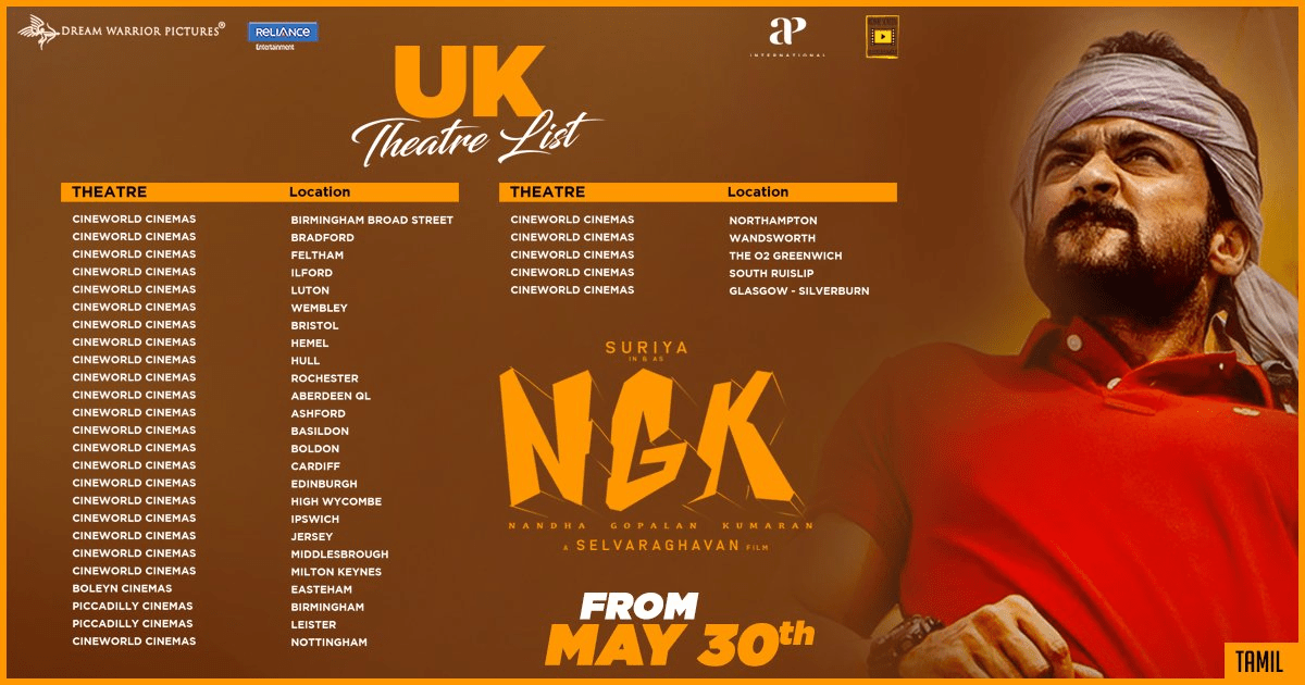 NGk Movie USA, Canada, UK, UAE, And GCC Theaters List
