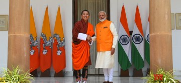 New Delhi: Prime Minister Narendra Modi meets Bhutan Prime Minister Lotay Tshering at Hyderabad House in New Delhi, on May 31, 2019. (Photo: IANS/MEA)